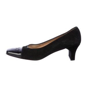 SALVATORE FERRAGAMO Signature Logo Suede Pumps